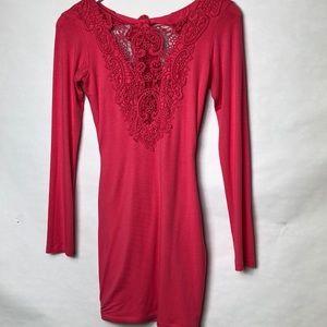 Sky crochet bust low back stretch mini dress